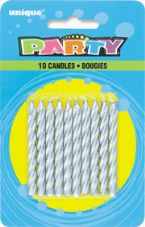 Silver Birthday Cake/ Anniversary Cake Candles 10Pk